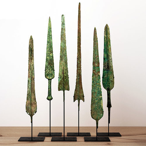 lorestani archaic bronze spearheads and blades 3d model max fbx 1