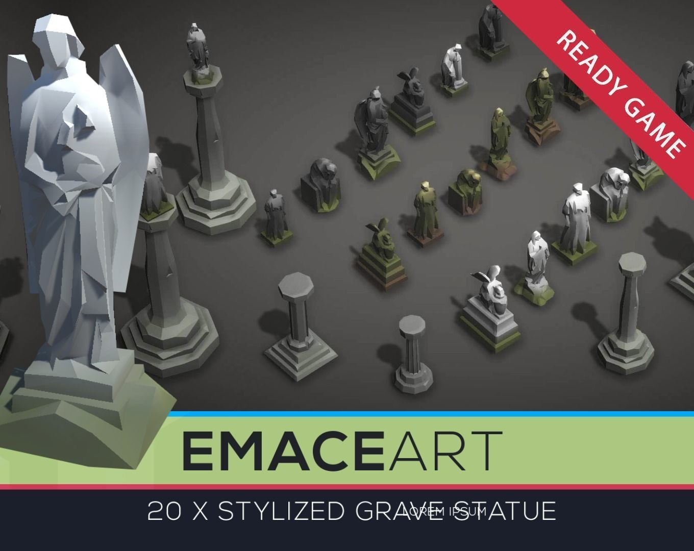 Low Poly Cemetery Statue Kit with LODs