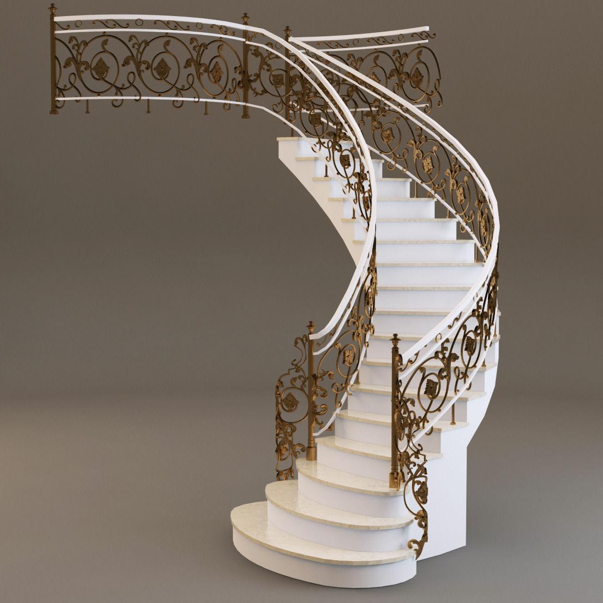 Classical Staircase 3d Model Max Obj Fbx Mtl