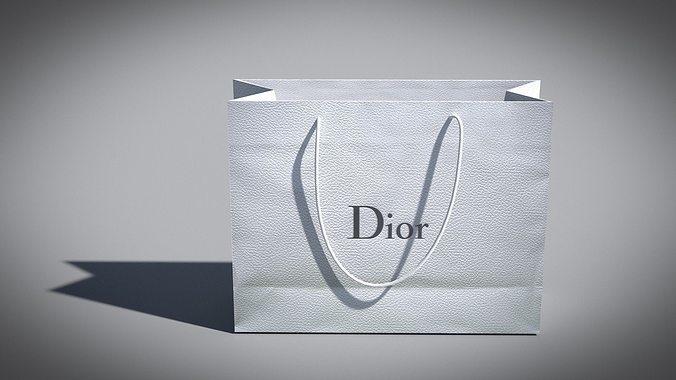 designer shopping bag - dior 3d model obj mtl 3ds fbx dae 1