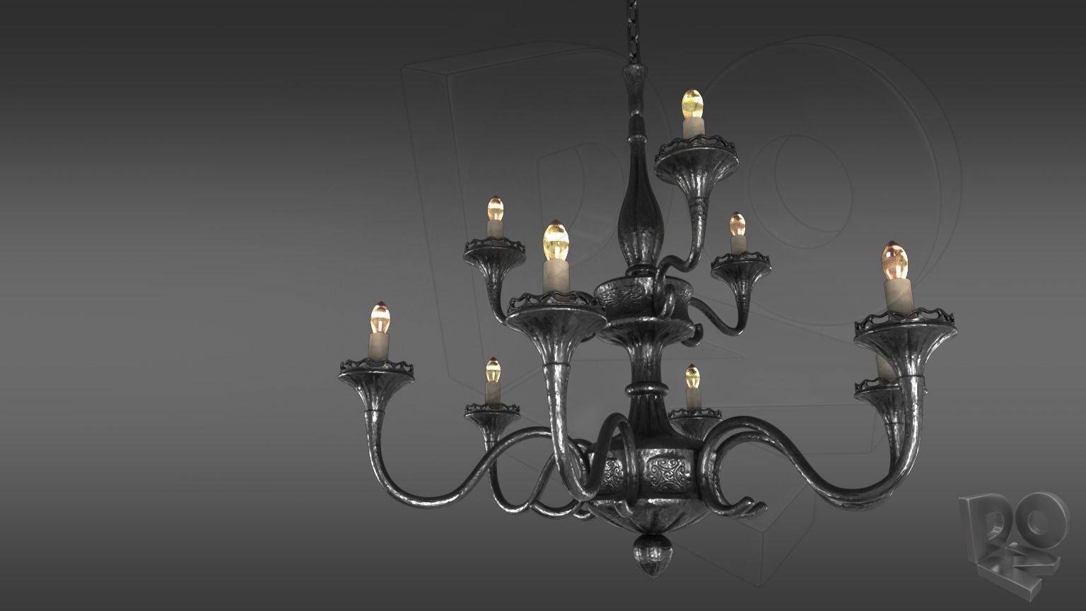 Wrought iron ceiling chandelier