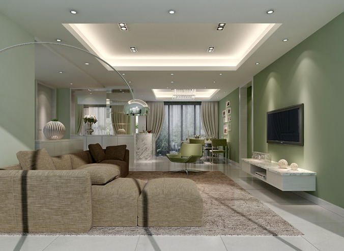 Big living room 3d cgtrader for Living models