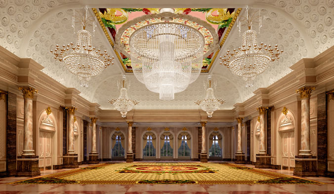 3d luxurious banquet hall cgtrader for Banquet hall ceiling designs