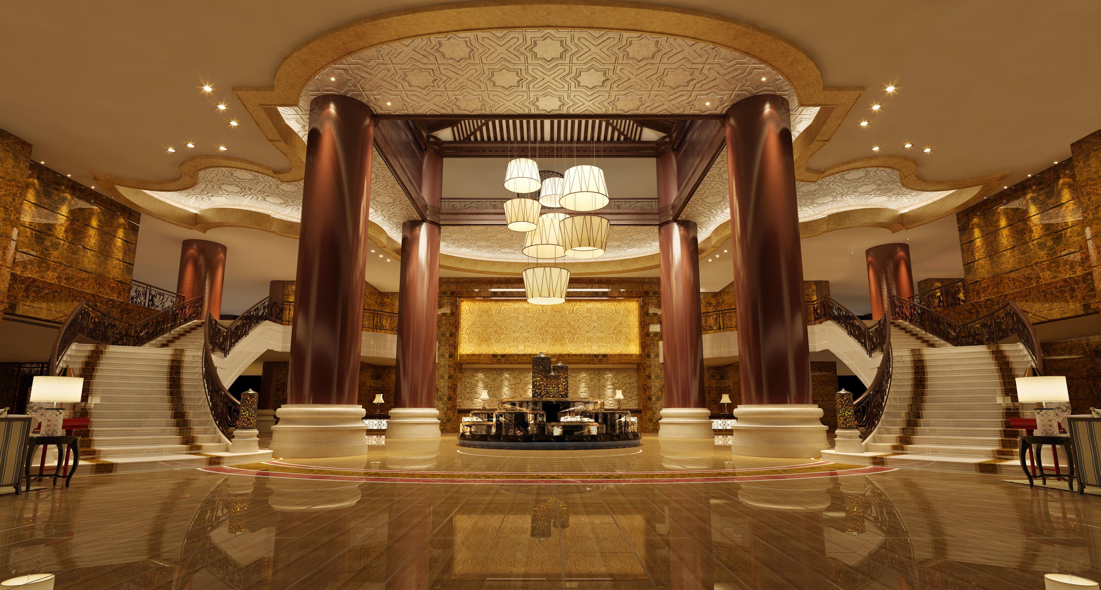 Modern Lighting In Hotel Lobby European Marble Coffee Table Model