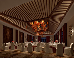 3d restaurant prepared for banquet