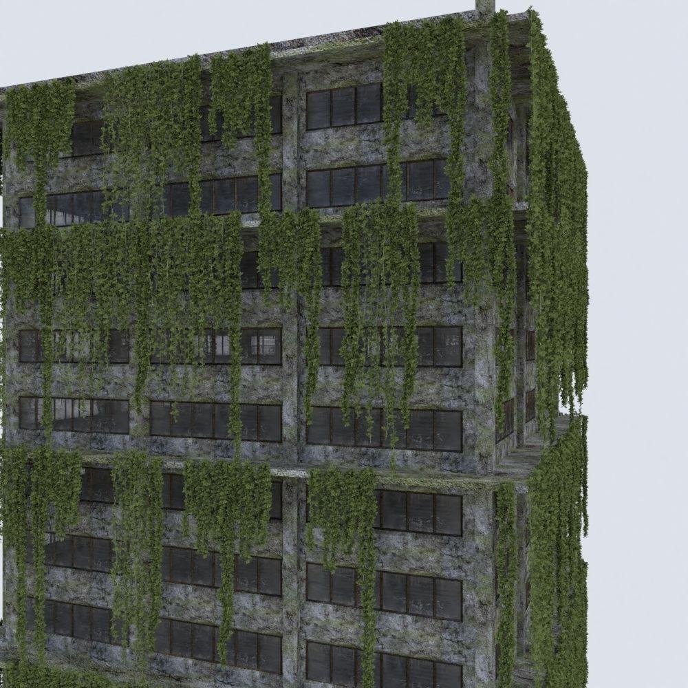 3D Model DAMAGED OLD ABANDONED BUILDING