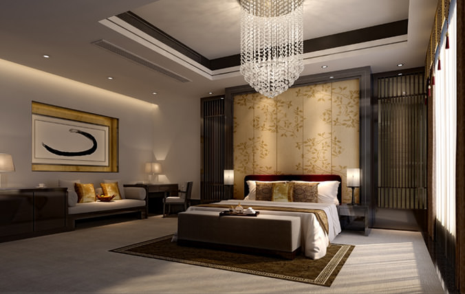 3d spacious hotel bed room cgtrader for Model bedroom interior design