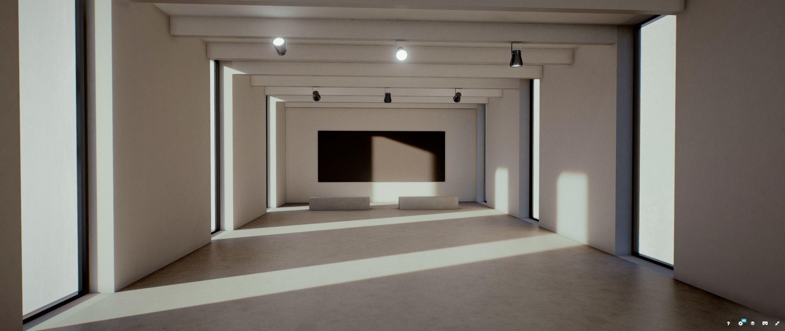 Moody Lighting Art Gallery 2019 Corona Max Scene