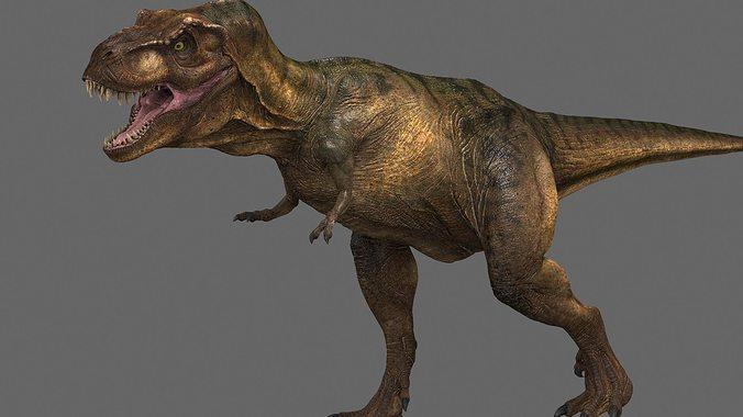 tyrannosaurus rex -maya 3d model rigged animated ma mb 1