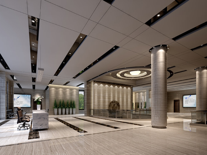 Lobby In Office Building 3d Model Max Cgtrader Com