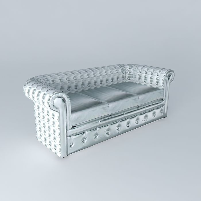 Chesterfield Silver Sofa Houses The World 3d Model Max Obj 3ds Fbx Stl Skp  1 ...
