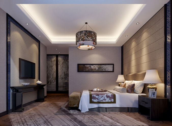 3d Model Luxurious Guest Room Cgtrader