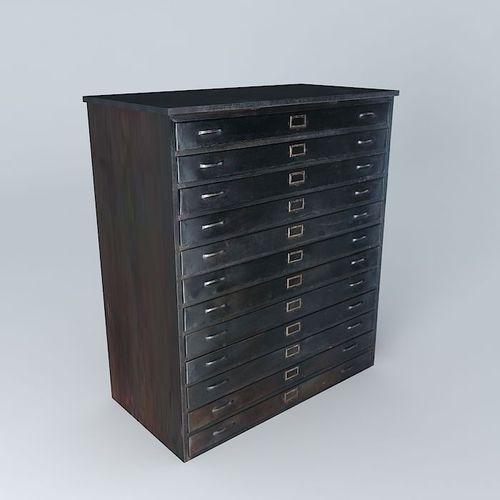cabinet edison maisons du monde 3d model max obj 3ds fbx stl skp. Black Bedroom Furniture Sets. Home Design Ideas