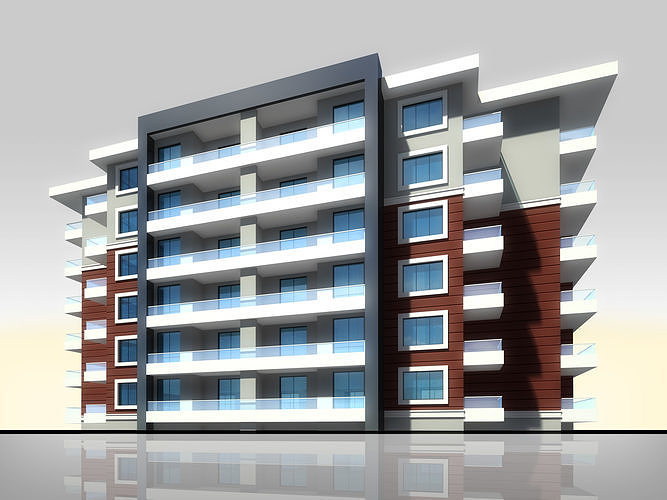Apartment Architectural 3d Model with Render Scene