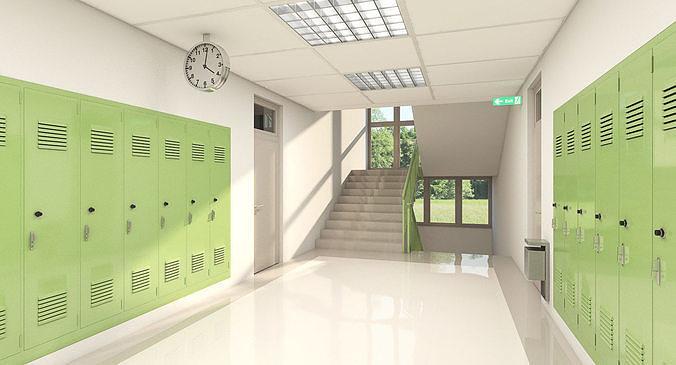 School Hallway 002 green
