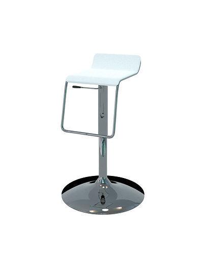 Chair - Bar Stool Chrome and White Design
