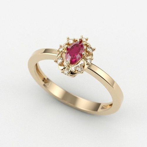 solitaire wedding engagement women ring with gems 3dm stl