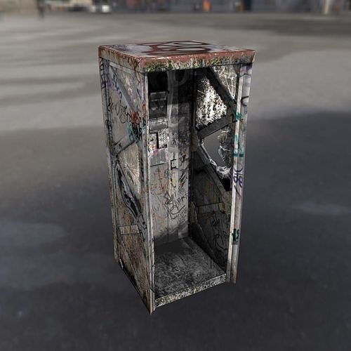 Post Apocalyptic Call Box in Sci-Fi Style
