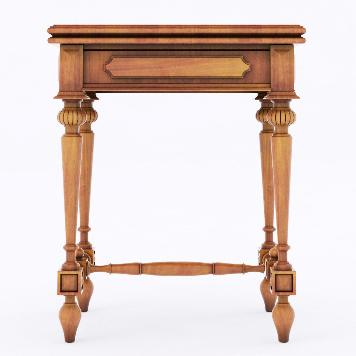 ... Antique Wood Table 3d Model Max Obj 3ds Fbx Mtl 2 ...