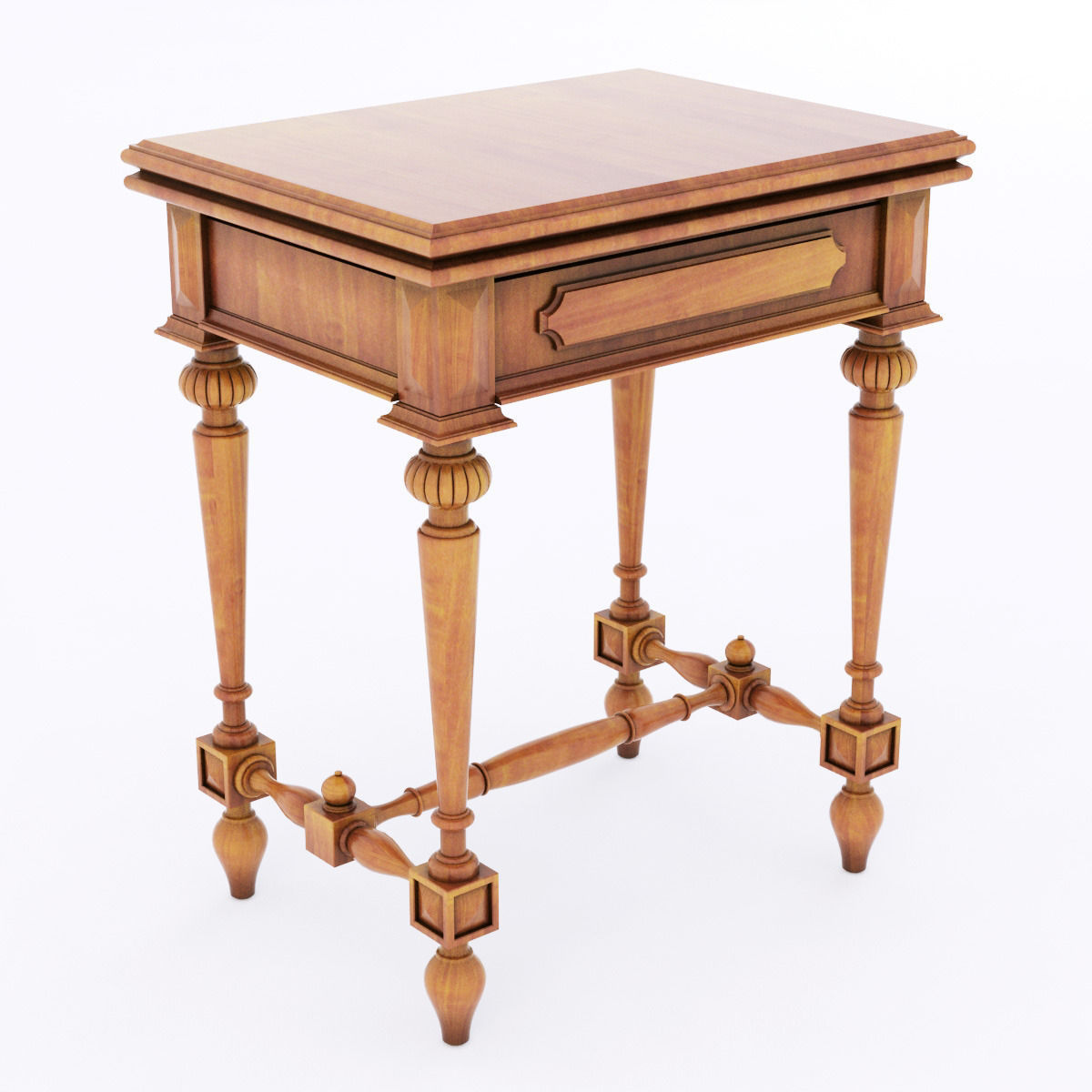 Antique wood table 3d model max obj 3ds fbx for Table 3d model
