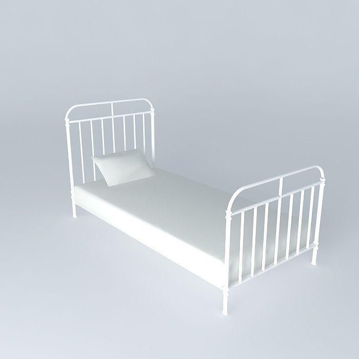 Nicolas white bed maisons du monde 3d model max obj 3ds - Lit nicolas maison du monde ...