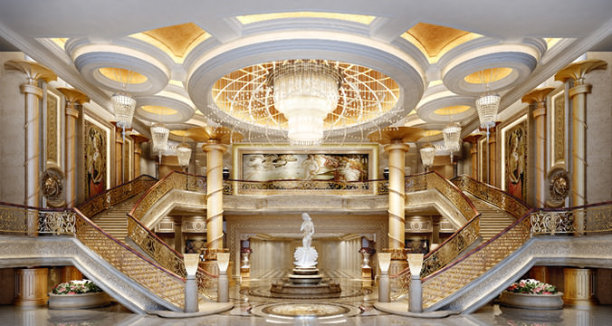 Luxurious Stairs In Art Gallery 3D Model Max