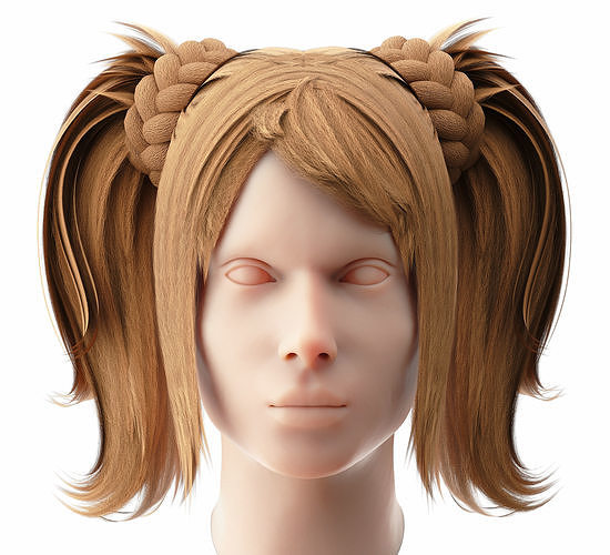 Female Hairstyle Low Poly 1