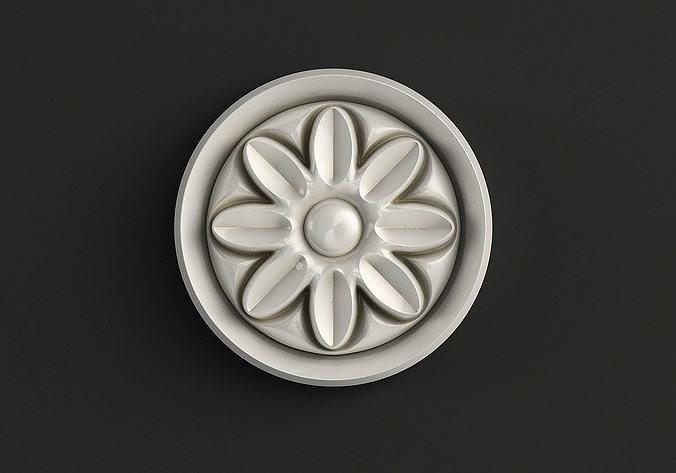 Round carved rosette 3D