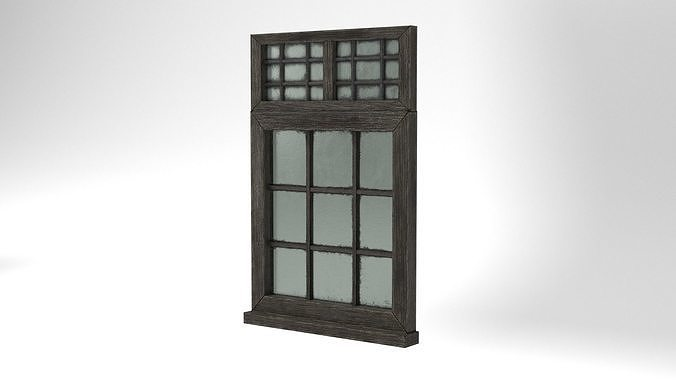 Medieval Window Double Top Lead and Glass 3D Model Tudor