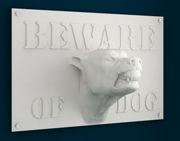 3d Printable Beware of Dog sign 3D Model