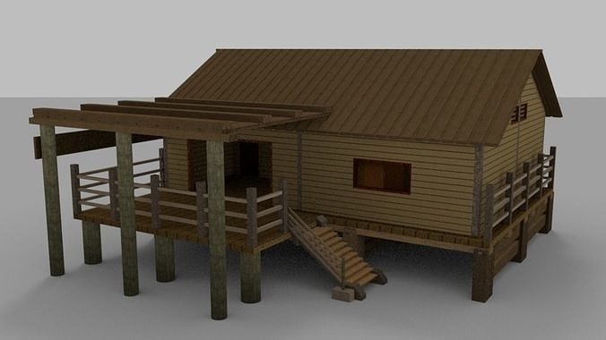Wooden House With External Area