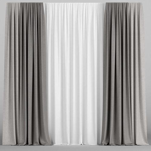 Brown curtains with tulle