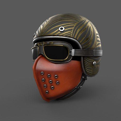 Scifi helmet steampunk low poly