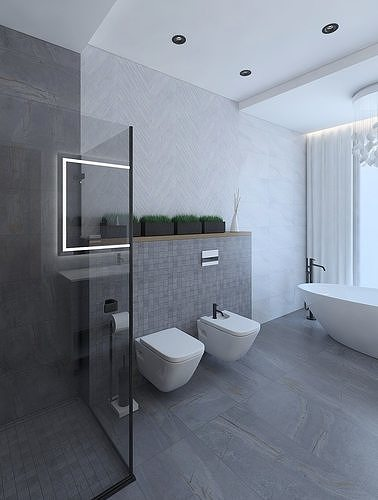 3d Fabulous Bathroom With Stone Tiles Cgtrader