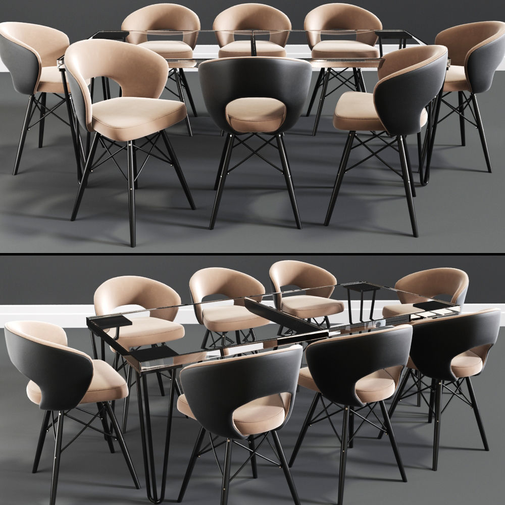 Oslo Six Seater Dining Table Chair Set Model