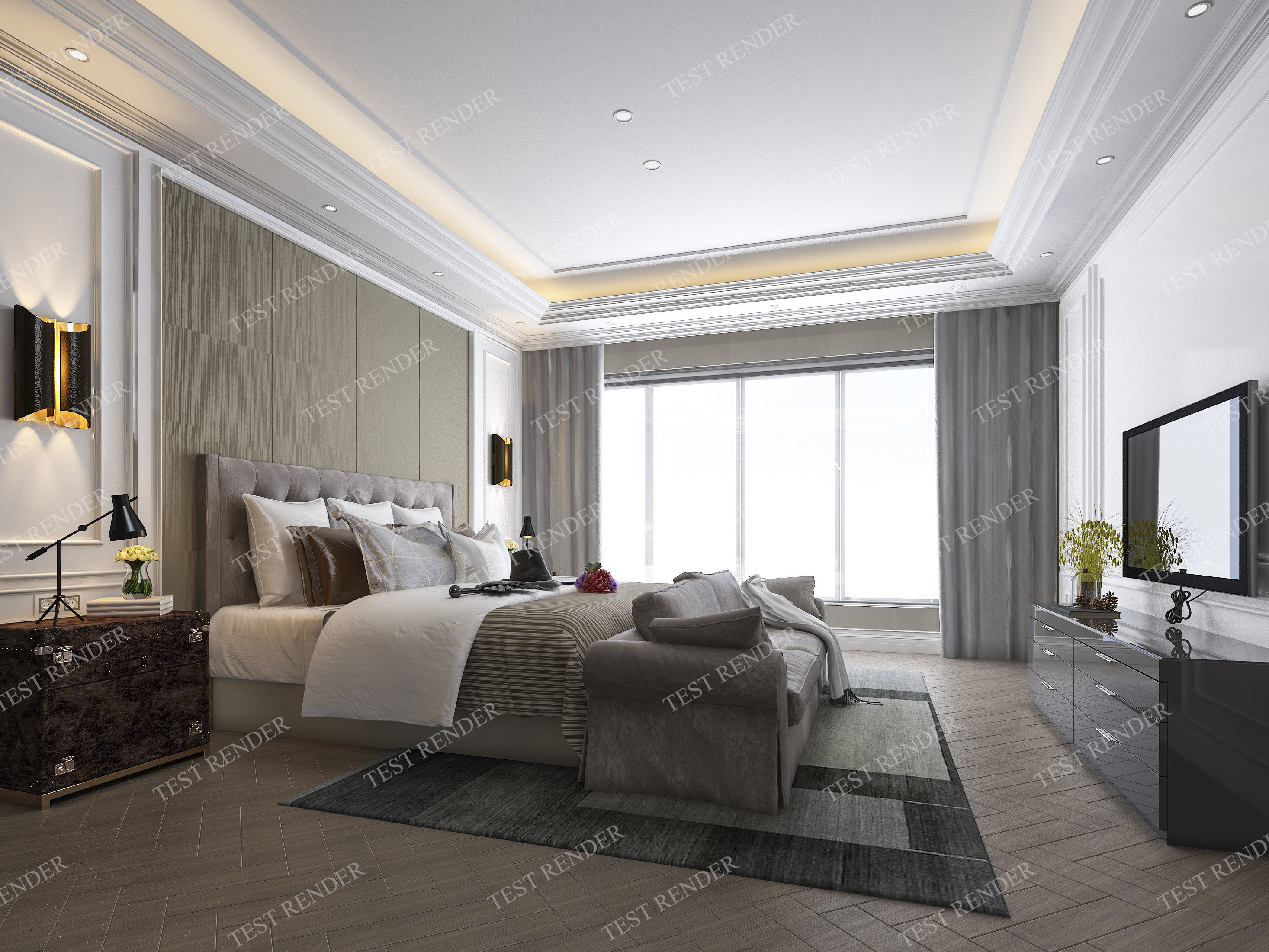 luxury classic modern bedroom suite in hotel   3D model