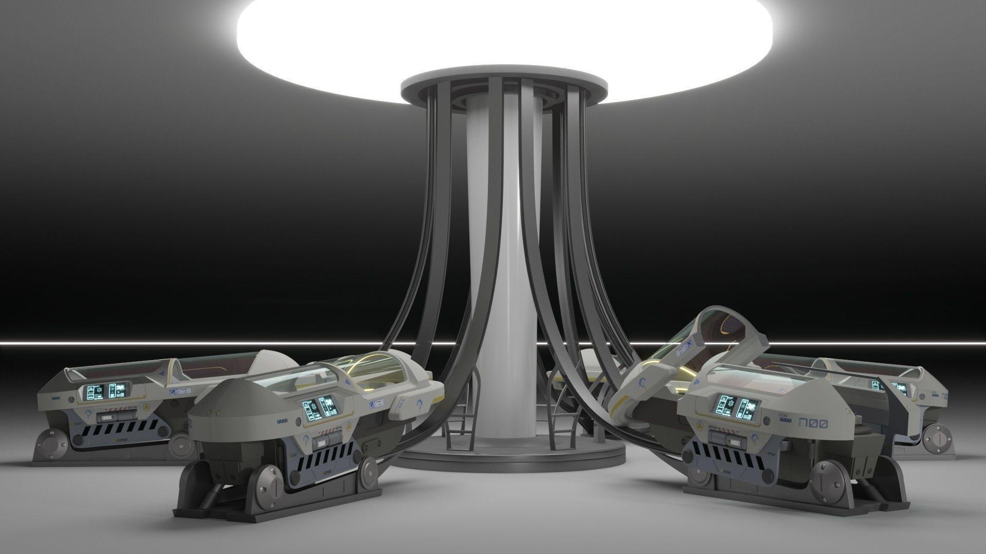 Sci Fi Cryogenic Pod - Cryopod -