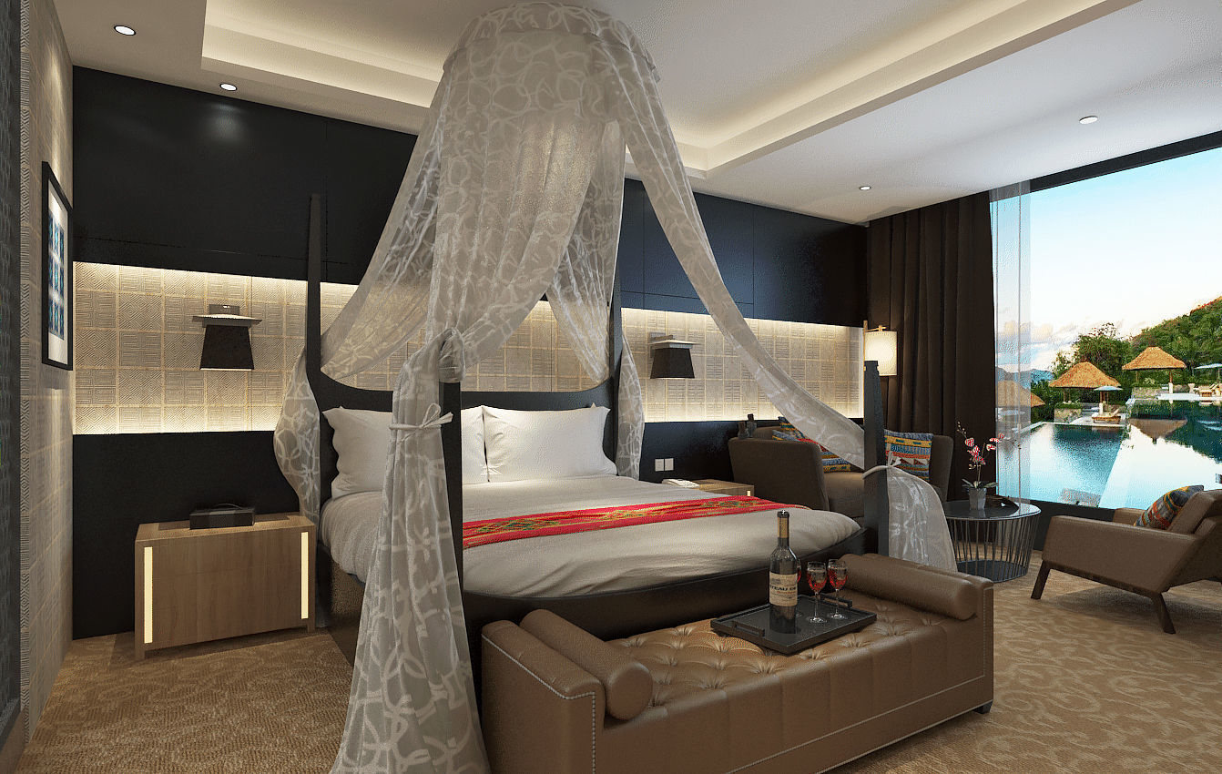 Mexican Style Five Star Resort Hotel Room Design 3d