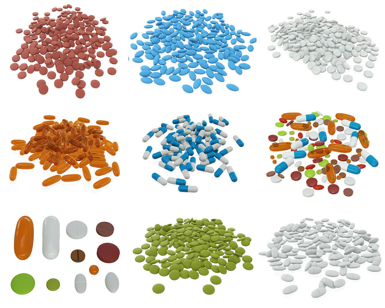 Pills on ground various colors