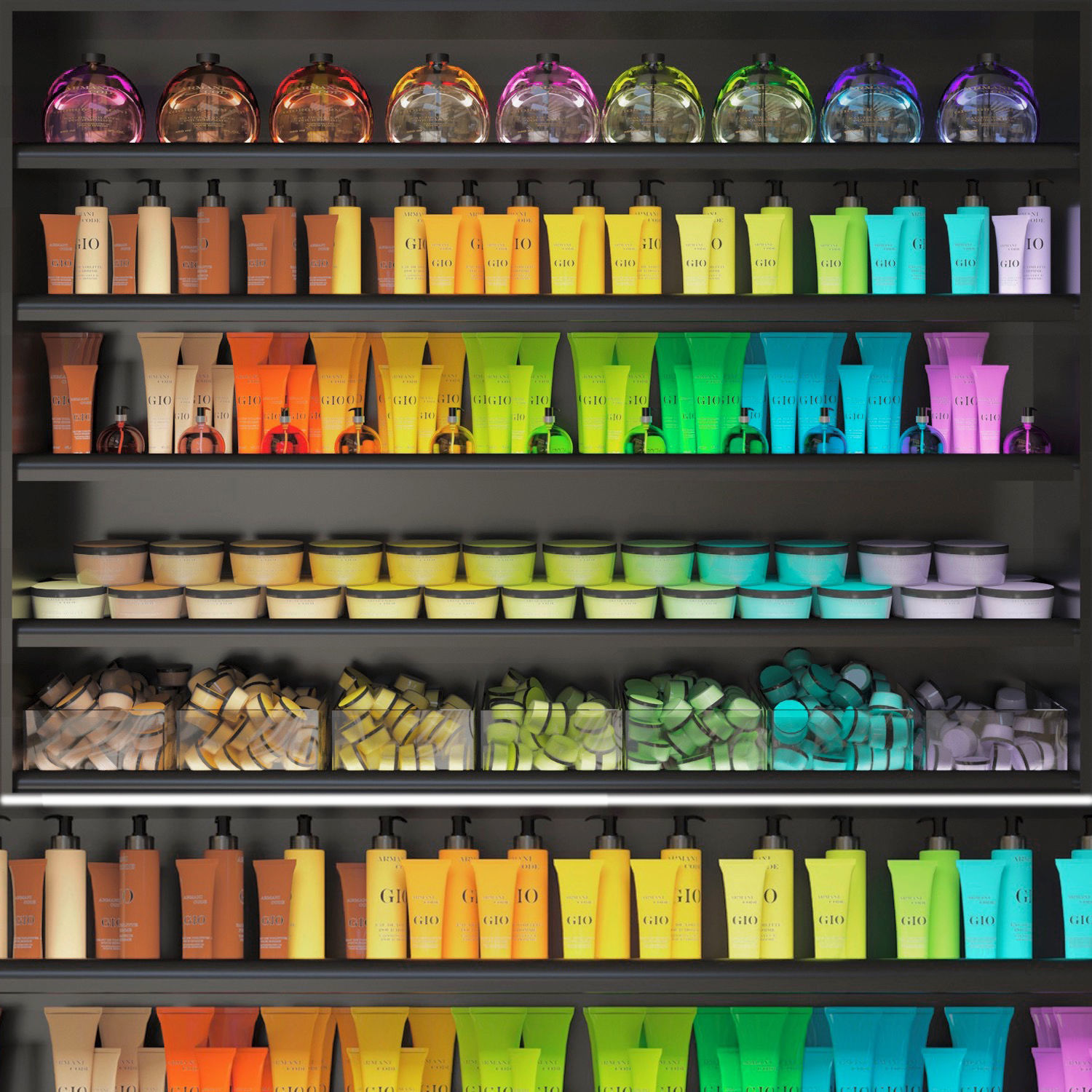 Color cosmetic set for a beauty salon
