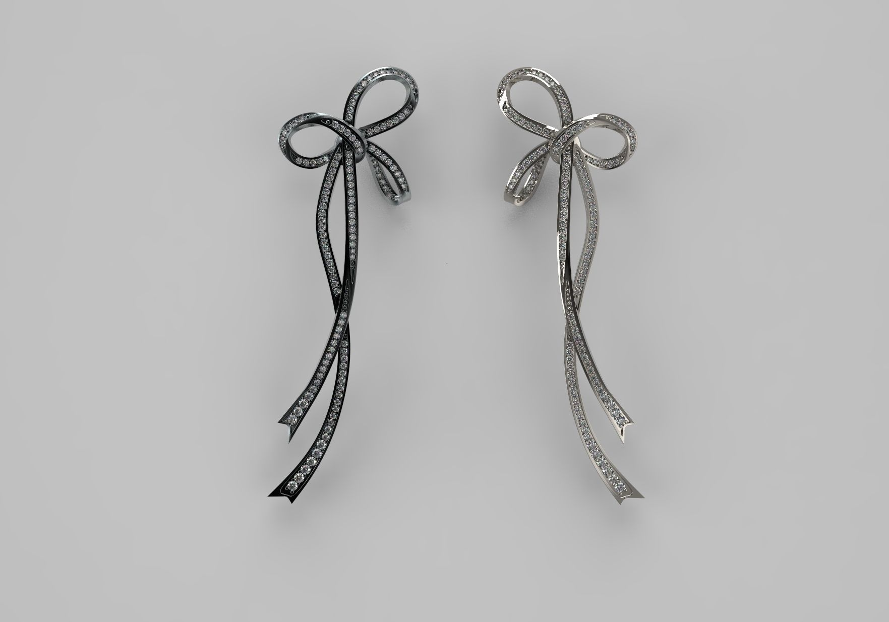Bow Earring With Diamonds Print Model