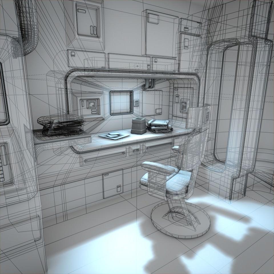 Spaceship Interior HD 2 3D Model .obj .fbx .lwo .lw .lws