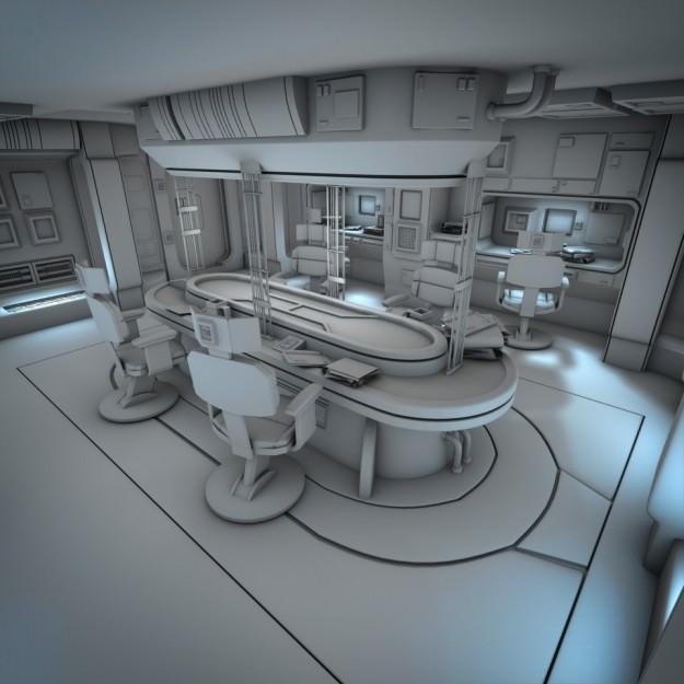 Spaceship Interior HD 2 3D Model obj fbx lwo lw lws
