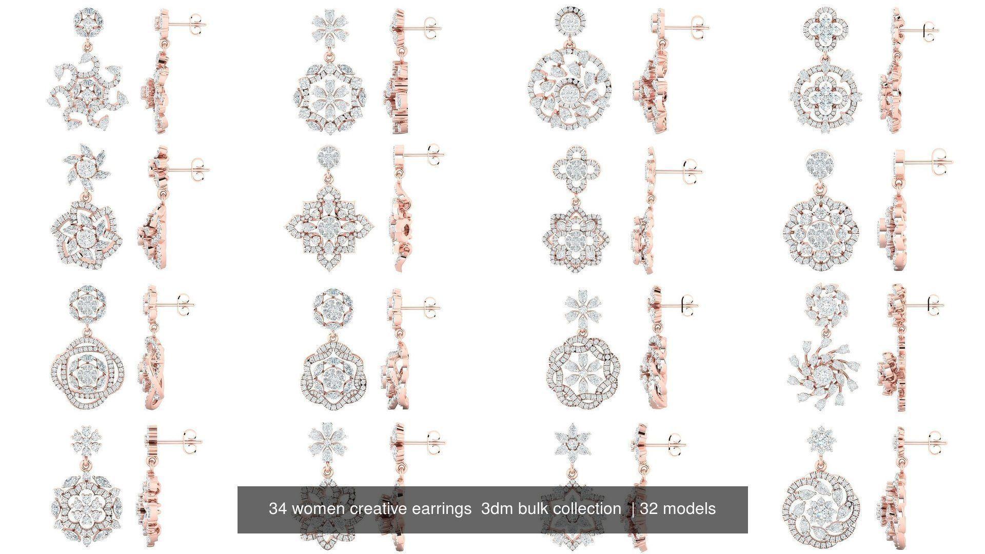 34 women creative earrings  3dm bulk collection