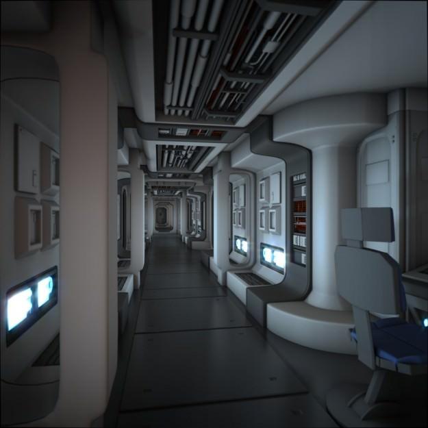 Spaceship corridor hd 3d model animated obj fbx blend for Future interieur