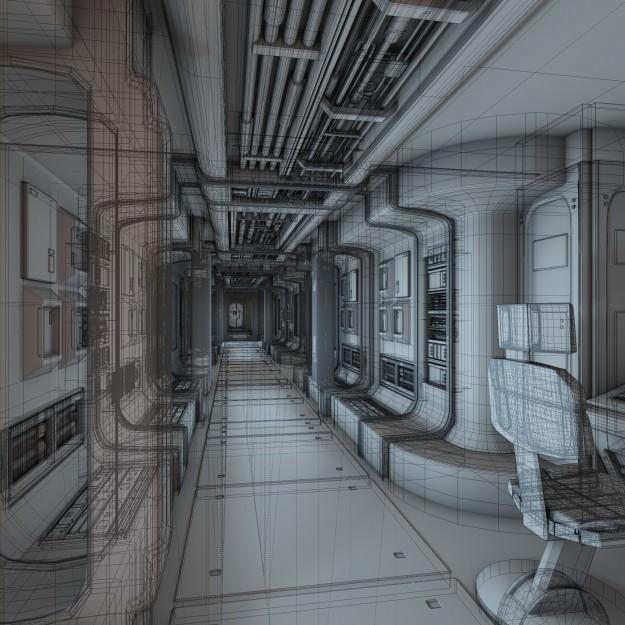 Spaceship Corridor HD 3D Model Animated .obj .fbx .blend