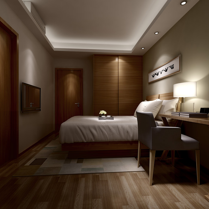 Small hotel bed room 3d model max for Master bedroom interior design images