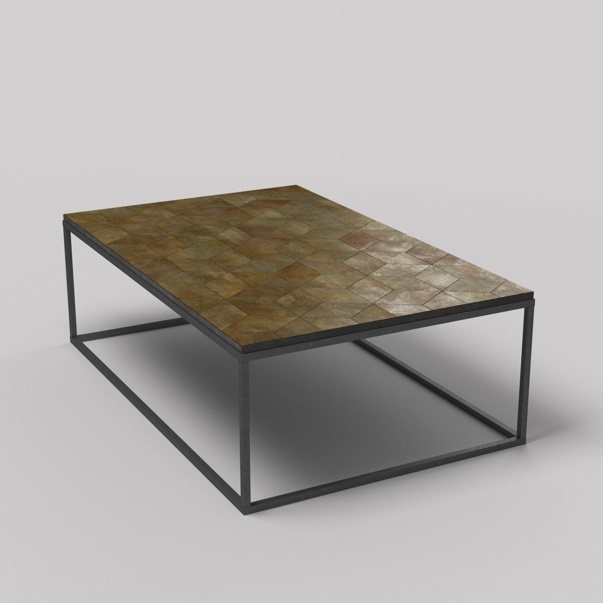 metal coffee table 3d model high detailed photorealistic metal