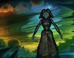 3D alien woman