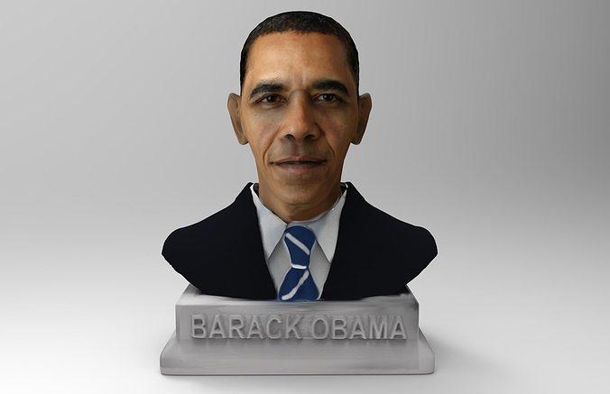 barack obama bust  3d model obj mtl stl wrl wrz 1
